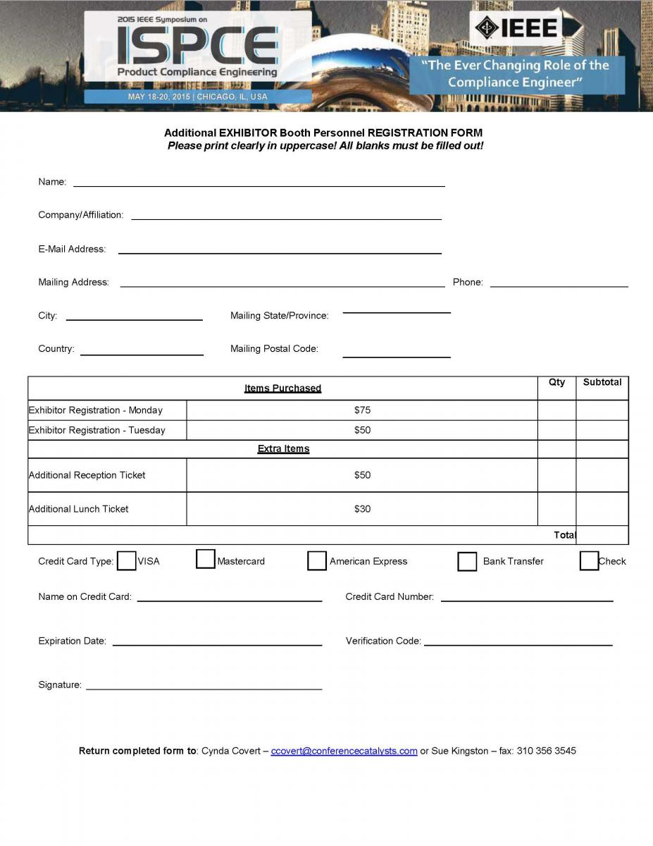 Exhibition Booth Form : For exhibitors ispce